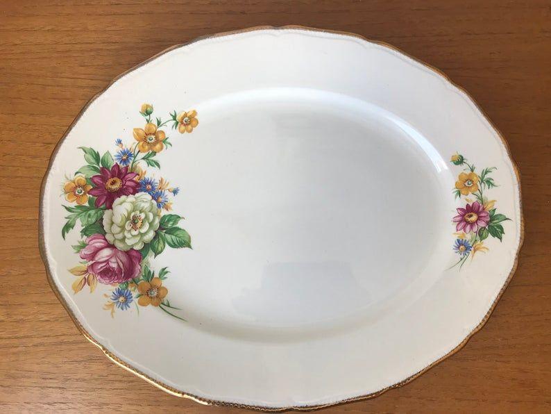 Royal Swan Riverdale Vintage Large Platter, Flower Bouquet Serving Plate, English Floral Dish, 22 karat Gold, Earthenware Pottery