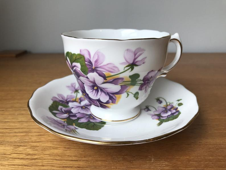 Royal Vale Purple Violets Tea Cup and Saucer, Bone China Teacup and Saucer