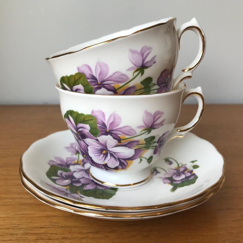 Royal Vale Purple Violets Teacups and Saucers, Pair of English China Tea Cups and Saucers, Tea for Two