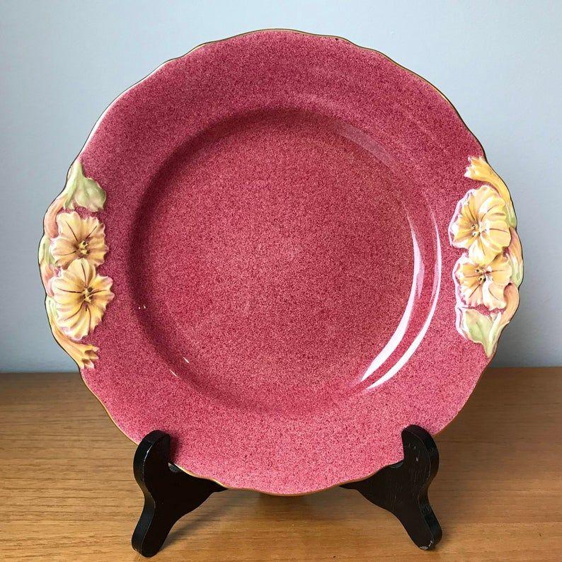 Royal Winton Grimwades Petunia Plate, Dark Speckled Pink Serving Tray with Floral Handles, Vintage Dish