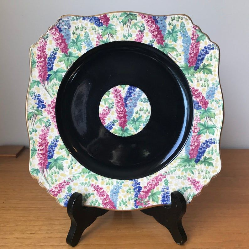 Royal Winton Grimwades Serving Tray, Black Band with Pink and Blue Delphiniums Floral Chintz Cake Plate, 768985