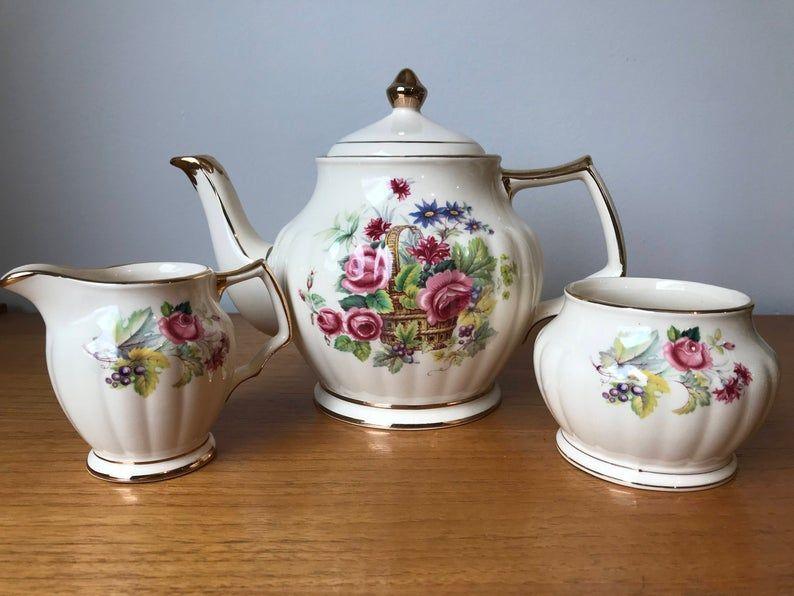Sadler Teapot and Cream and Sugar set, Vintage Tea set, Flower Basket Tea Pot, Creamer and Sugar Bowl, Made in England