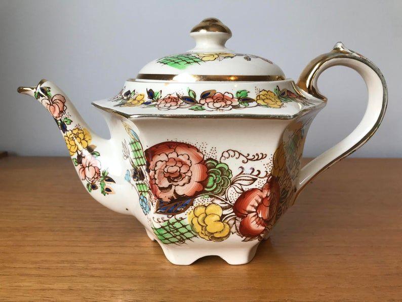 Sadler Vintage Teapot, Hand Painted Flower Teapot, Orange Yellow Blue and Green Floral English Tea Pot