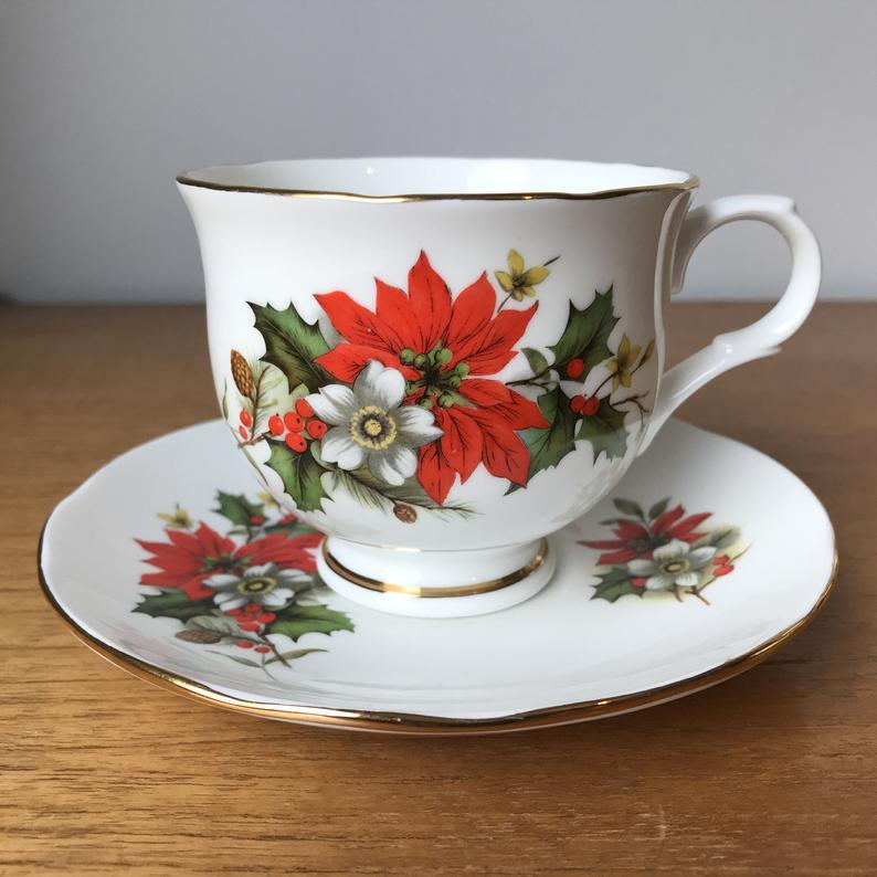 Sadler Wellington Tea Cup and Saucer, Christmas Teacup and Saucer, Red Poinsettia White Flowers Green Holly Leaves China