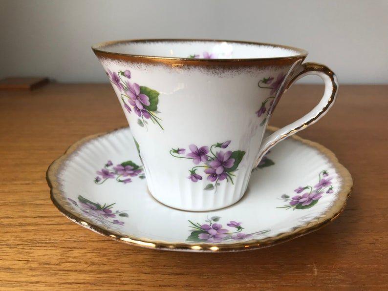 Salisbury Tea Cup and Saucer, Purple Violets Teacup and Saucer, Bone China
