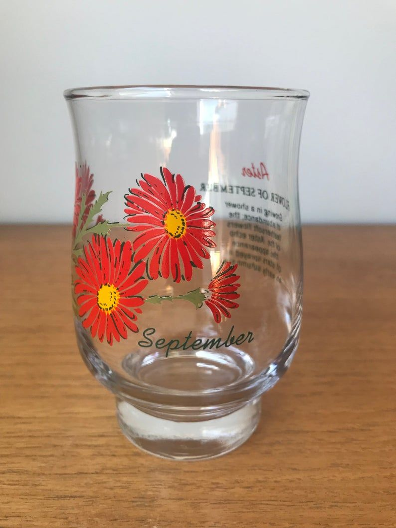 September Vintage Drinking Glass, Red Aster Glassware, Flower of the Month Birthday Gift Idea