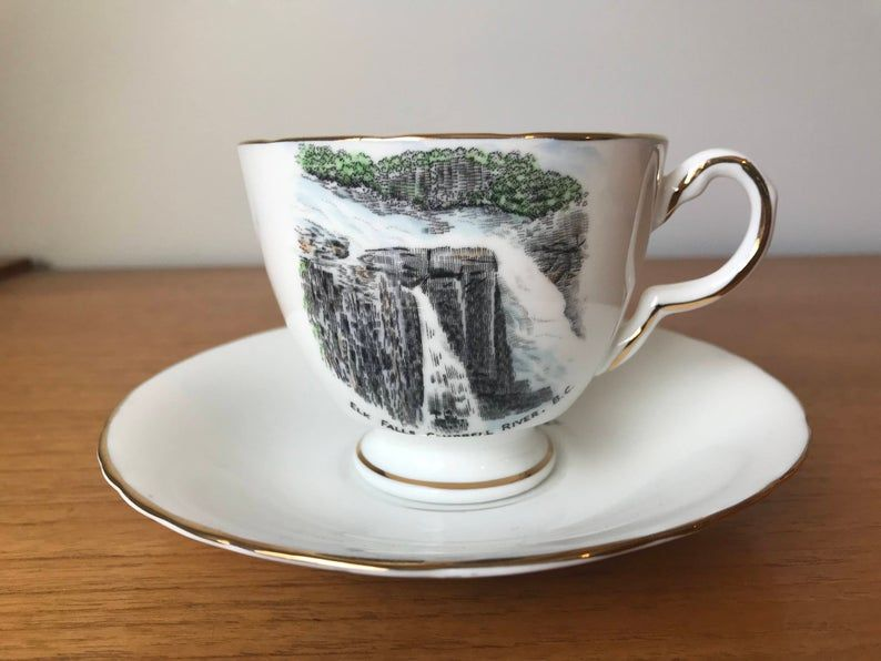 Souvenir Waterfall Teacup and Saucer, Campbell River British Columbia Elk Falls Tea Cup and Saucer, H & M Sutherland Vintage Bone China