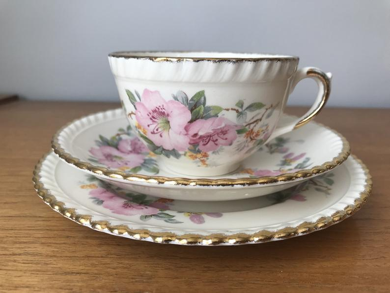 Sovereign Potters Tea Cup Trio, Pink Flowers Ceramic Cup Saucer Plate set