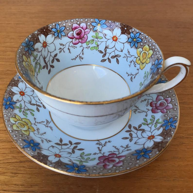 Taylor and Kent Floral Tea Cup and Saucer, Blue Teacup and Saucer with Hand Painted Flowers, Bone China
