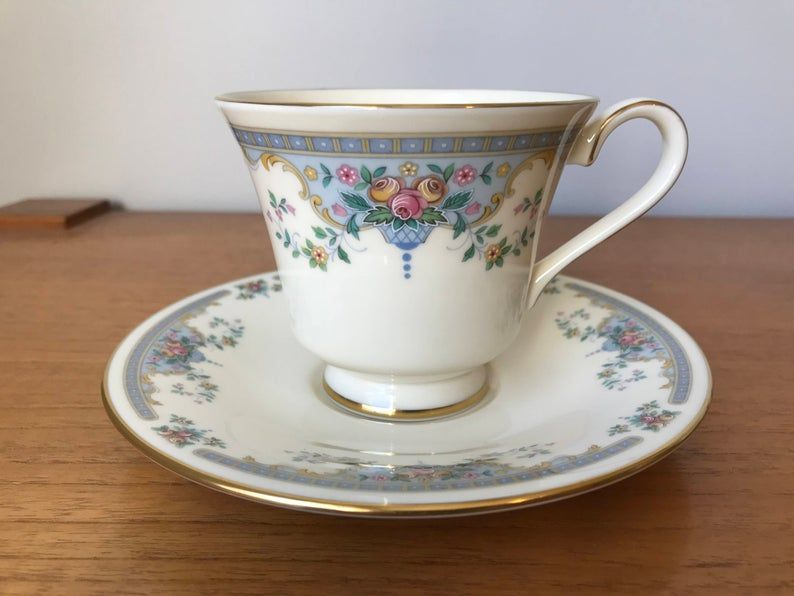 Vintage Royal Doulton Juliet The Romance Collection Teacup and Saucer, Soft Cream Bone China Pink Roses Blue Border Tea Cup and Saucer