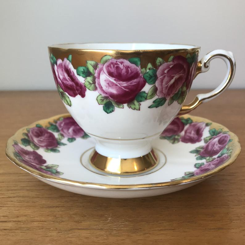 Tuscan China Tea Cup and Saucer, Tuscan Roses Teacup and Saucer, Heavy Gold