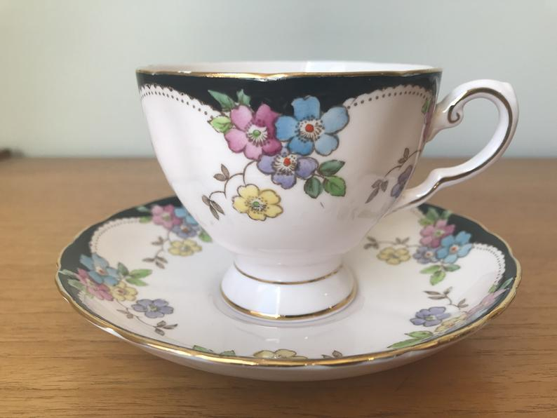 Tuscan Light Pink & Black Vintage Teacup and Saucer, Hand Painted Purple Blue Yellow Flower Tea Cup Duo, English Floral Bone China