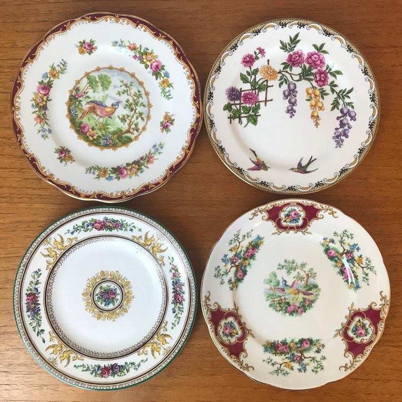 Vintage China Plates, Mismatched Bread and Butter Plates, Birds and Flowers China Dishes Tableware