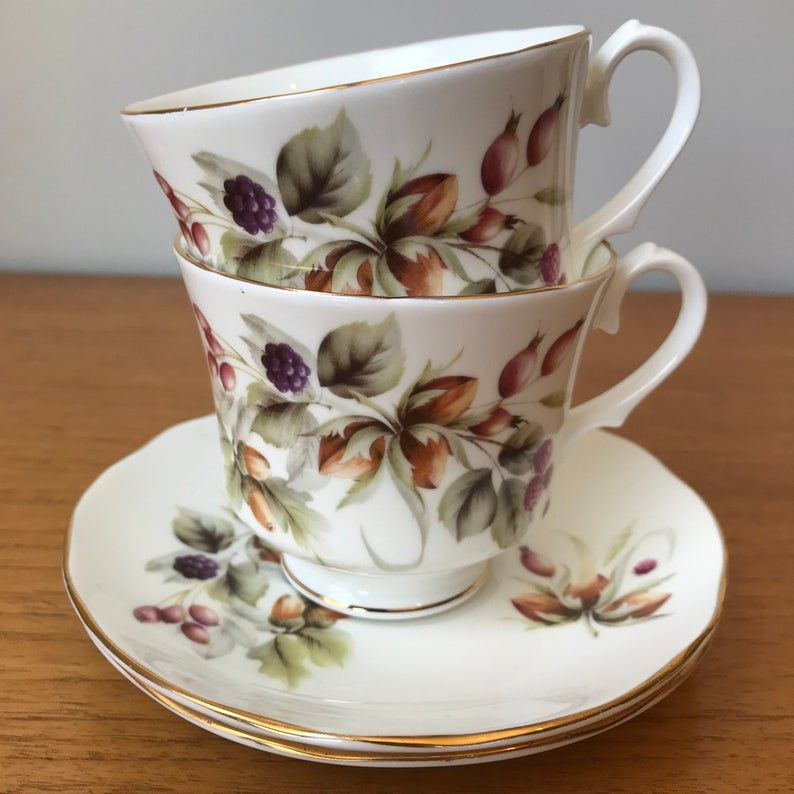 Vintage China Teacups and Saucers, Duchess Fruit and Nut Tea Cups and Saucers, Tea for Two, Tea party