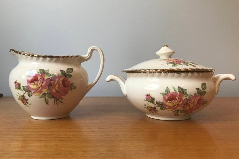 Johnson Brothers Old English Vintage Cream and Sugar set, Pink and Yellow Rose Creamer and Sugar Bowl with Lid, Earthenware Ceramic