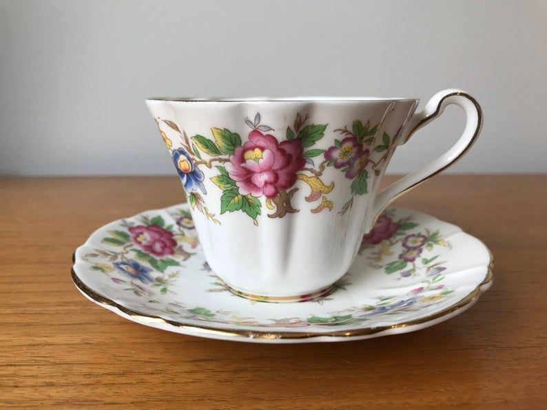 Royal Stafford Rochester Vintage English Tea Cup and Saucer, Floral Teacup and Saucer, Bone China