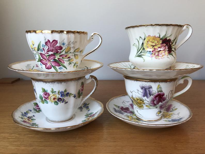 Vintage Floral Teacups and Saucers set, Bone China Tea Set, Flower English Tea Cups and Saucers, Paragon Salisbury Royal Standard