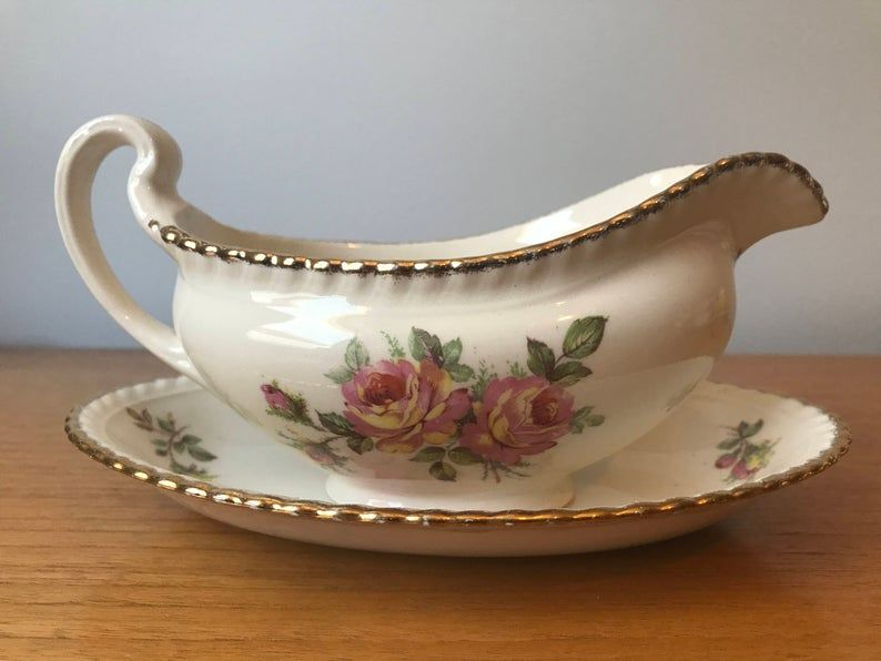 Johnson Brothers Old English Vintage Gravy Boat with Tray, Pink and Yellow Roses Serving Dish, Dinnerware, Dinner Party