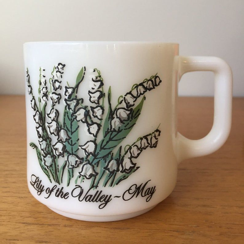 Vintage Milk Glass Cup, Flower of the Month May, Lily of the Valley Floral Mug, White Milk Glass Coffee Cup, Birthday Gift