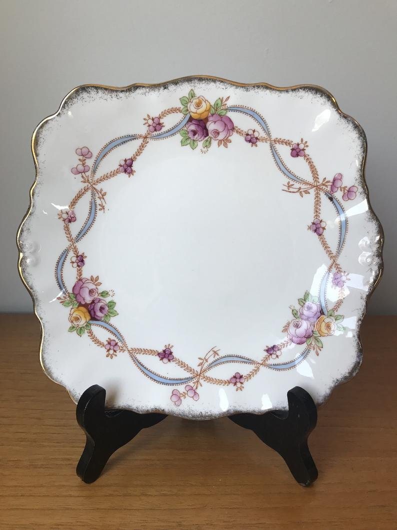 Vintage Roslyn Terry Cake Plate, Hand Painted Roses and Ribbon Garland Serving Tray, Small China Dish, Purple, Yellow and Pink Roses