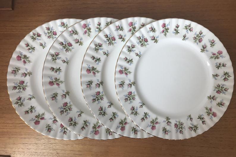 China Dinner Plates, Vintage Royal Albert Bone China Dinnerware Winsome Pink Rose Plates, Set of Four