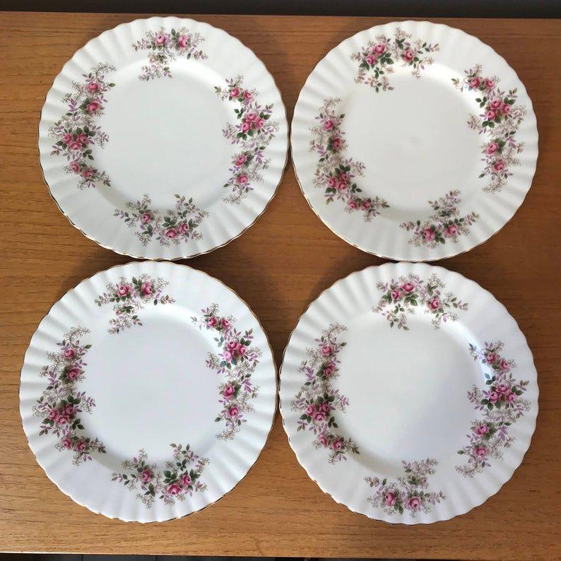 Vintage Royal Albert Lavender Rose Salad Plates, Bone China Dinnerware