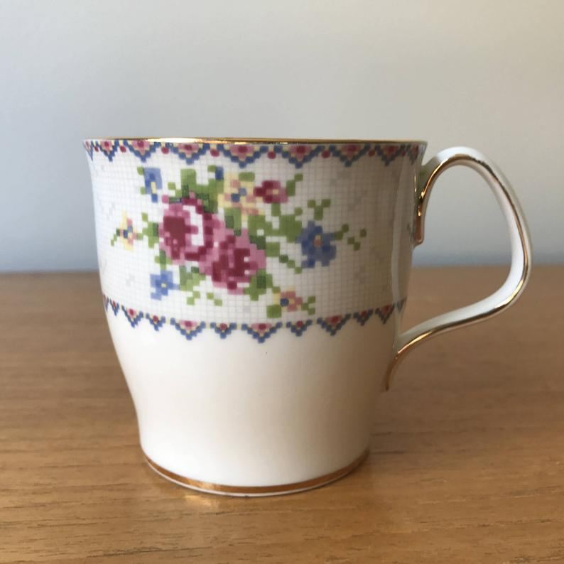 Vintage Royal Albert Petit Point Coffee Mug, Smooth Tapered Coffee Cup, Cross Stitch Needlepoint Roses, Coffee Time