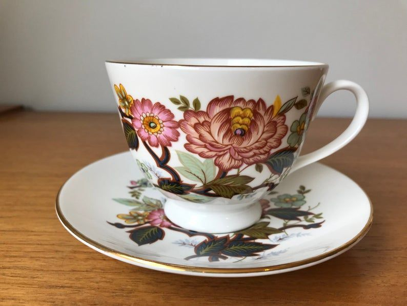 Vintage Royal Grafton Tea Cup and Saucer, Pink Floral Teacup and Saucer, Flower English Bone China, Collectibles