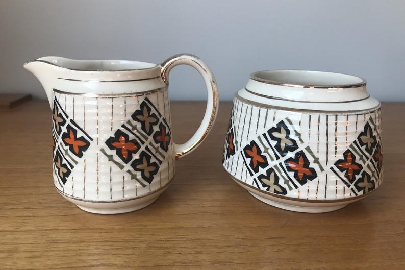 Vintage Sadler Cream and Sugar set, Unique Orange and Gold Creamer and Sugar Bowl, English Milk Pitcher