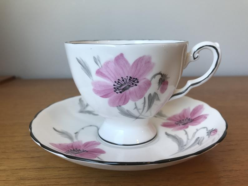 Vintage Tuscan China Hand Painted Tea Cup and Saucer, Pink and Grey Floral Teacup and Saucer with Black Trim, Bone China