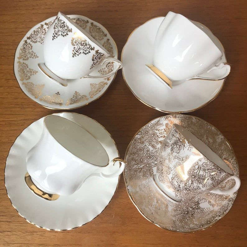 White and Gold Tea Cups and Saucers, Vintage China Tea Set of Four