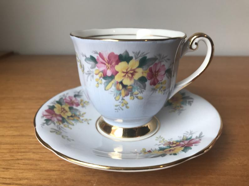 Windsor Bone China Teacup and Saucer, Blue Tea Cup and Saucer with Pink and Yellow Flowers