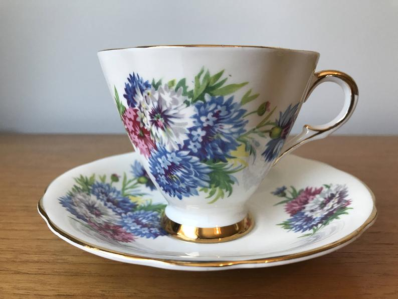 Windsor Vintage Teacup and Saucer, Blue White Pink Corn Flowers Tea Cup and Saucer, Bone China