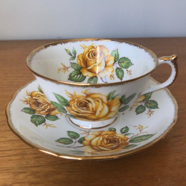 Yellow Rose Tea Cup and Saucer, Vintage Bone China Teacup and Saucer, Gift for Mom, Gift for Girlfriend, Garden Tea Party