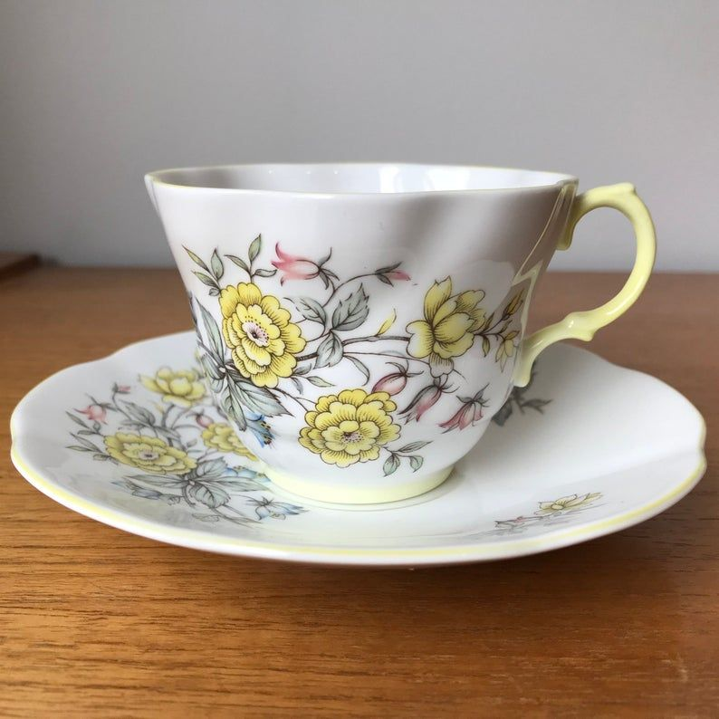 Yellow Rosina Vintage Teacup and Saucer, Yellow, Pink & Blue Flower Tea Cup and Saucer, Garden Tea Party, English Bone China